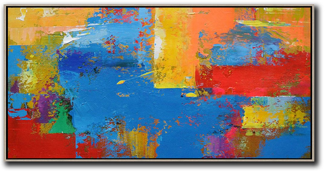Large Wall Canvas Paintings,Horizontal Palette Knife Contemporary Art Panoramic Canvas Painting,Big Living Room Decor,Blue,Yellow,Orange,Red.etc