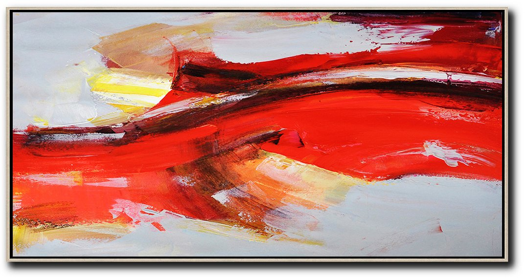 Hand Painted Original Art,Horizontal Palette Knife Contemporary Art Panoramic Canvas Painting,Canvas Artwork For Sale,Red,Grey,Yellow.etc