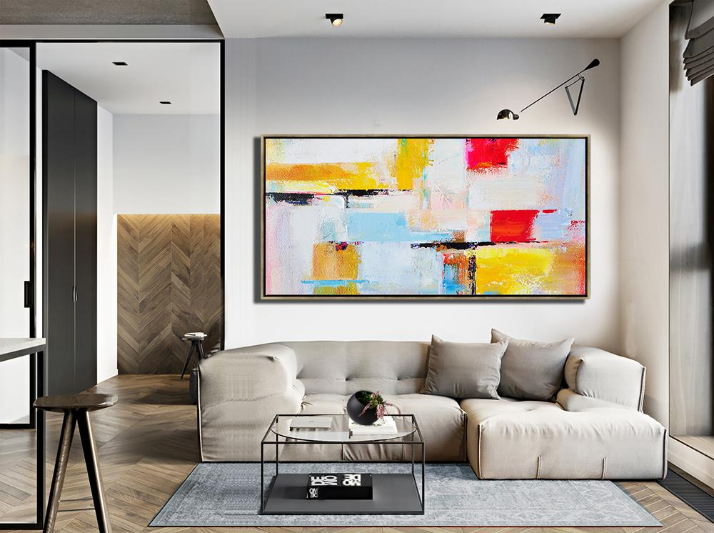 Big Wall Art For Living Room,Horizontal Palette Knife Contemporary Art Panoramic Canvas Painting,Bedroom Wall Decor,White,Blue,Yellow,Red.etc