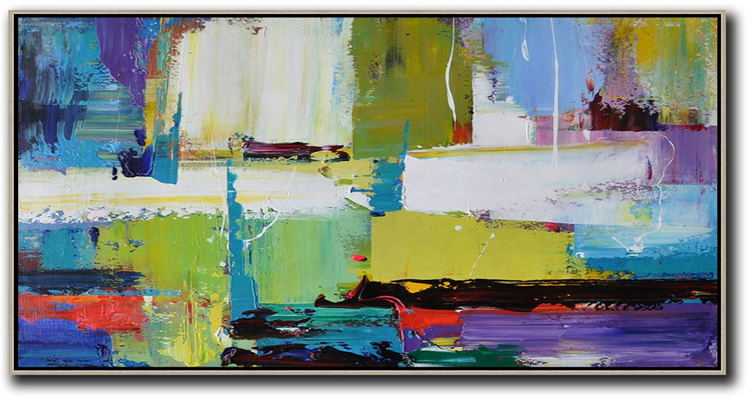 Big Living Room Decor,Horizontal Palette Knife Contemporary Art Canvas Painting,Oversized Wall Decor,Light Green,Purple,Grey,Yellow.etc