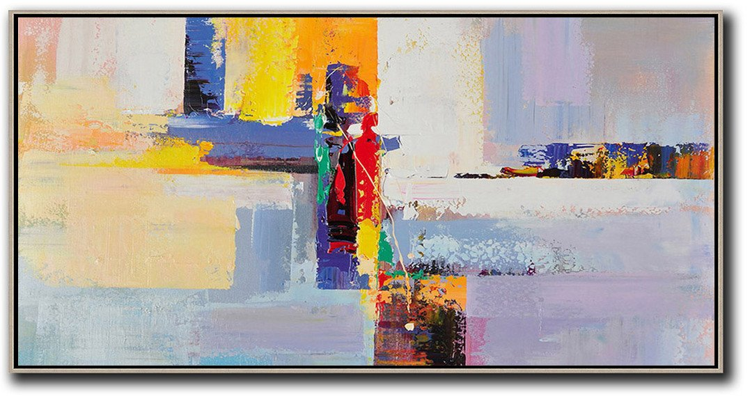 Bedroom Wall Decor,Horizontal Palette Knife Contemporary Art Panoramic Canvas Painting,Family Wall Decor,White,Yellow,Purple,Red.etc