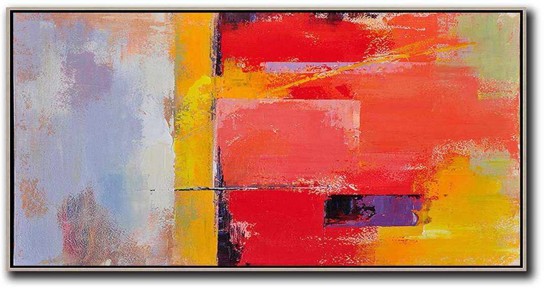 Family Wall Decor,Horizontal Palette Knife Contemporary Art Panoramic Canvas Painting,Giant Wall Decor,Red,Yellow,Purple,Pink.etc