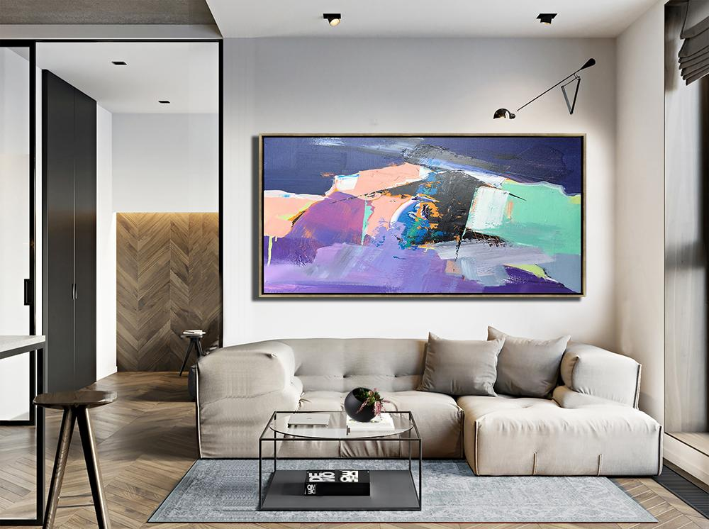 Handmade Large Contemporary Art,Horizontal Palette Knife Contemporary Art Panoramic Canvas Painting,Large Wall Art Canvas,Pink,Purple,Black,Light Green.etc
