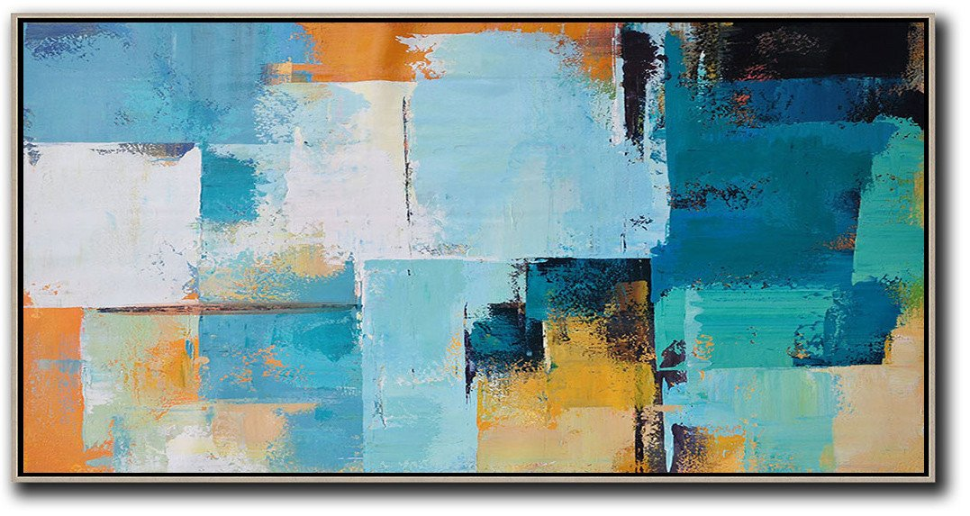 Original Painting Hand Made Large Abstract Art,Horizontal Palette Knife Contemporary Art Panoramic Canvas Painting,Huge Abstract Canvas Art,White,Blue,Yellow,Orange.etc