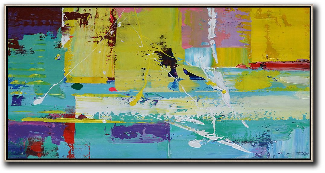Large Abstract Painting,Horizontal Palette Knife Contemporary Art Panoramic Canvas Painting,Extra Large Paintings,Yellow,Pink,White,Blue,Purple.etc