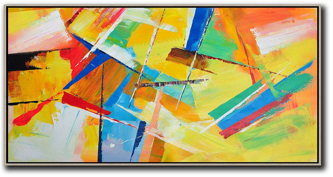 Extra Large Painting,Horizontal Palette Knife Contemporary Art Panoramic Canvas Painting,Size Extra Large Abstract Art,Yellow,Red,White,Blue,Green.etc