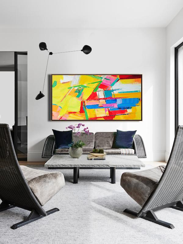 Abstract Painting Extra Large Canvas Art,Horizontal Palette Knife Contemporary Art Panoramic Canvas Painting,Modern Abstract Wall Art,Yellow,Red,White,Blue.etc