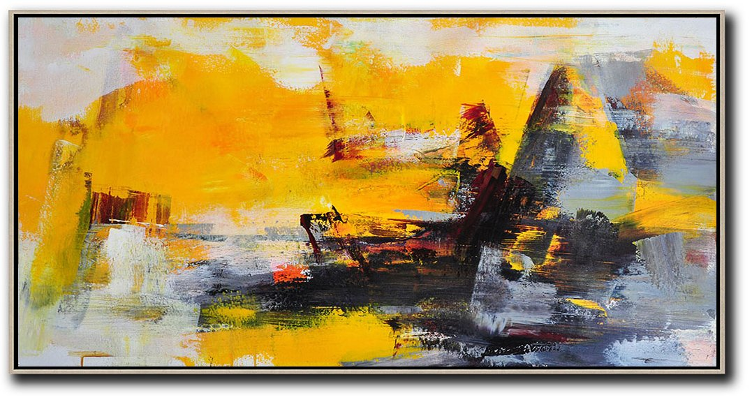 Canvas Artwork For Sale,Horizontal Palette Knife Contemporary Art Panoramic Canvas Painting,Size Extra Large Abstract Art,Yellow,Grey,Black.etc