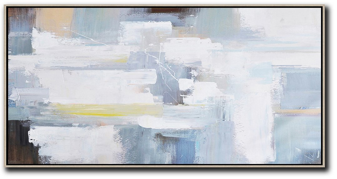 Large Abstract Painting Canvas Art,Horizontal Palette Knife Contemporary Art Panoramic Canvas Painting,Unique Canvas Art,White,Grey,Yellow,Brown.etc
