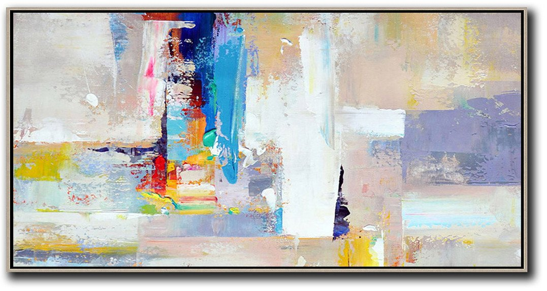 Custom Canvas Wall Art,Horizontal Palette Knife Contemporary Art Panoramic Canvas Painting,Large Colorful Wall Art,Grey,White,Blue,Purple.etc