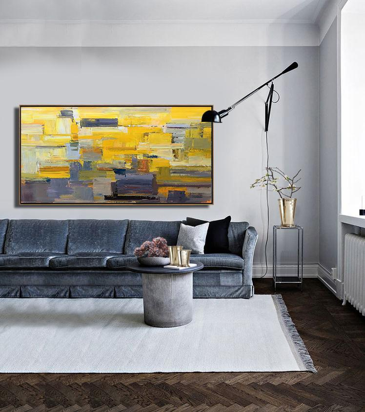 Abstract Art On Canvas, Modern Art,Horizontal Palette Knife Contemporary Art Panoramic Canvas Painting,Acrylic Painting Wall Art,Yellow,Grey,Brown,White.etc