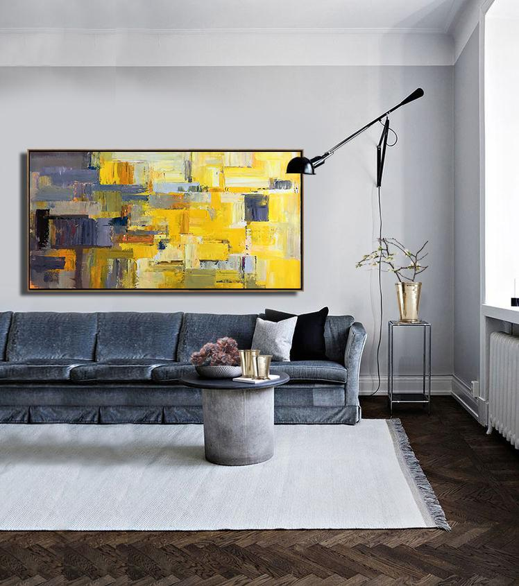 Acrylic Painting Wall Art,Horizontal Palette Knife Contemporary Art Panoramic Canvas Painting,Hand Made Original Art,Yellow,Grey,Brown,White.etc