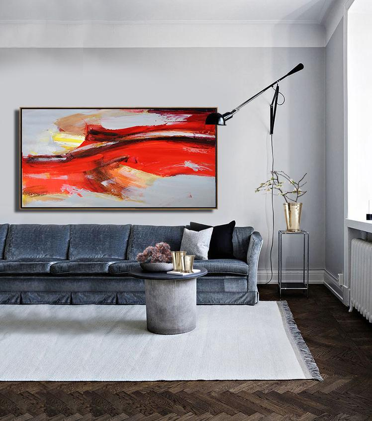 Big Art Canvas,Horizontal Palette Knife Contemporary Art Panoramic Canvas Painting,Custom Canvas Wall Art,White,Grey,Yellow.etc