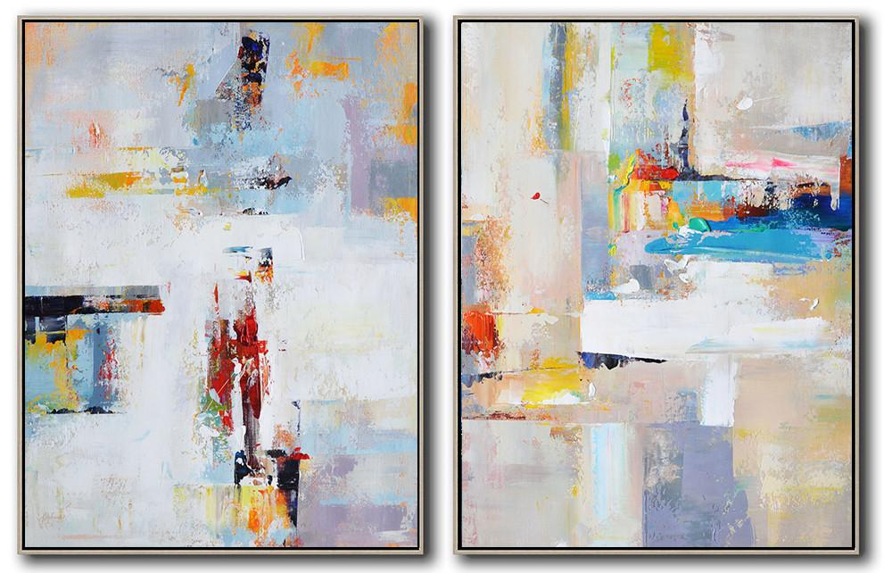 Oversized Canvas Art On Canvas,Set Of 2 Contemporary Art On Canvas,Large Paintings For Living Room,White,Purple,Red,Grey,Yellow.etc