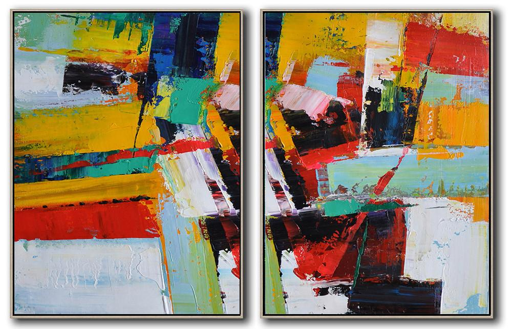 Original Abstract Painting Extra Large Canvas Art,Set Of 2 Contemporary Art On Canvas,Extra Large Artwork,Yellow,Red,White,Dark Blue,Black.etc