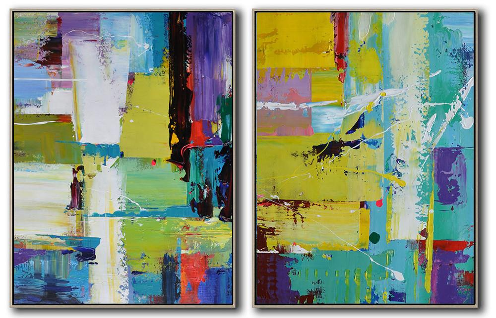 Handmade Large Contemporary Art,Set Of 2 Contemporary Art On Canvas,Hand Painted Aclylic Painting On Canvas,Yellow,Purple,White,Blue.etc
