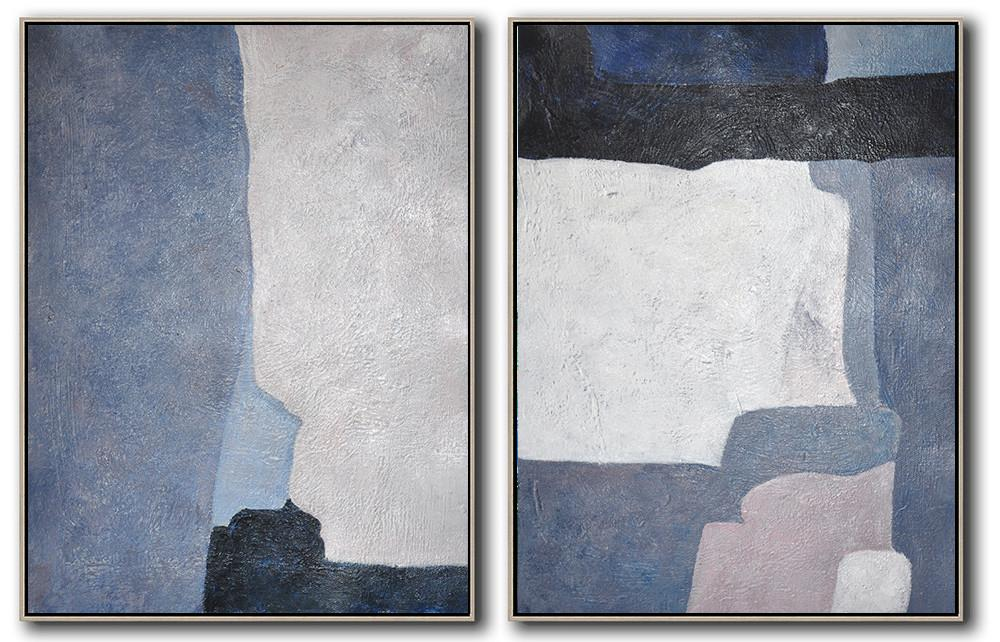 Large Contemporary Art Acrylic Painting,Set Of 2 Contemporary Art On Canvas,Modern Art Abstract Painting,White,Grey,Dark Blue,Black.etc