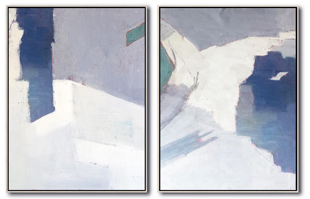 Original Extra Large Wall Art,Set Of 2 Contemporary Art On Canvas,Modern Art Abstract Painting,White,Grey,Blue.etc