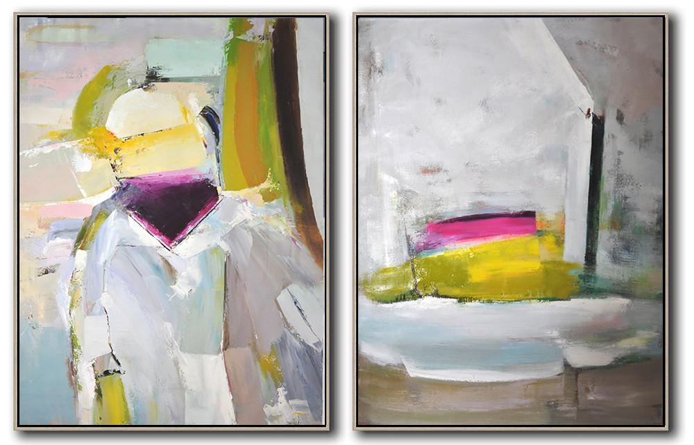 Handmade Large Contemporary Art,Set Of 2 Contemporary Art On Canvas,Hand Painted Original Art,Grey,Pink,Yellow.etc