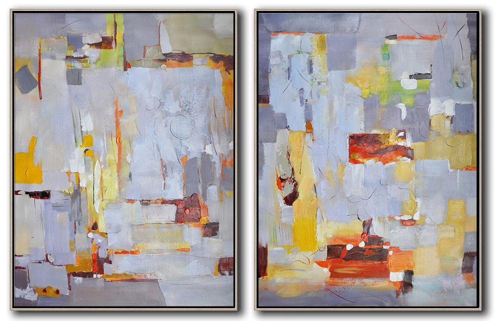 Extra Large Textured Painting On Canvas,Set Of 2 Contemporary Art On Canvas,Large Abstract Wall Art,Grey,White,Yellow,Red.etc