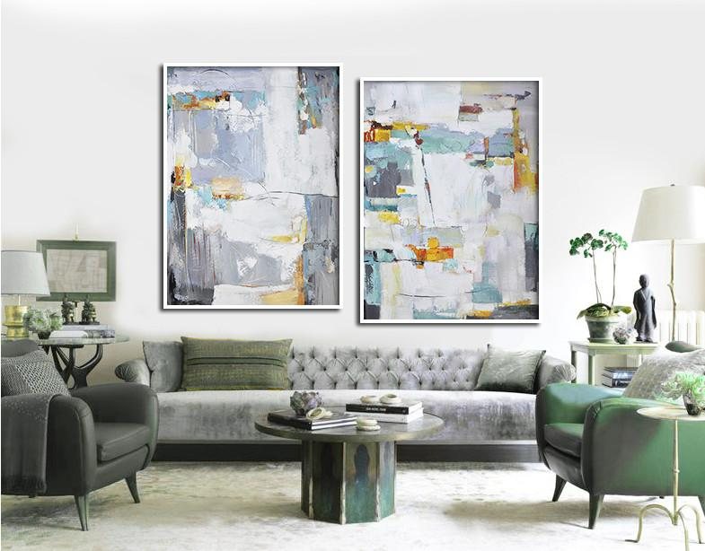 Huge Abstract Painting On Canvas,Set Of 2 Contemporary Art On Canvas,Modern Art Abstract Painting,Grey,Blue,White,Yellow,Sky Blue.etc