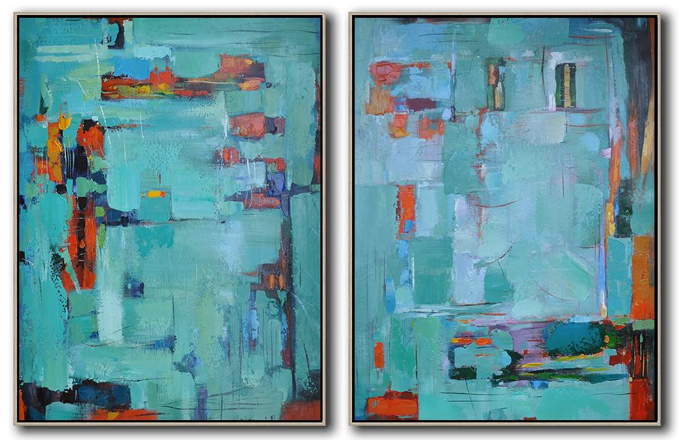 Oversized Canvas Art On Canvas,Set Of 2 Contemporary Art On Canvas,Contemporary Art Acrylic Painting,Green,Red,Orange.etc