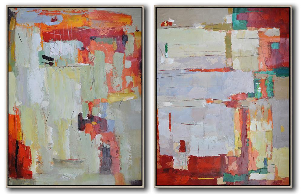 Original Painting Hand Made Large Abstract Art,Set Of 2 Contemporary Art On Canvas,Large Canvas Art,Modern Art Abstract Painting,Red,Grey,Orange,Green.etc