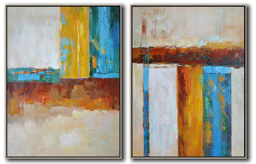 Large Abstract Painting,Set Of 2 Contemporary Art On Canvas,Acrylic Painting On Canvas,Brown,Yellow,Blue.etc