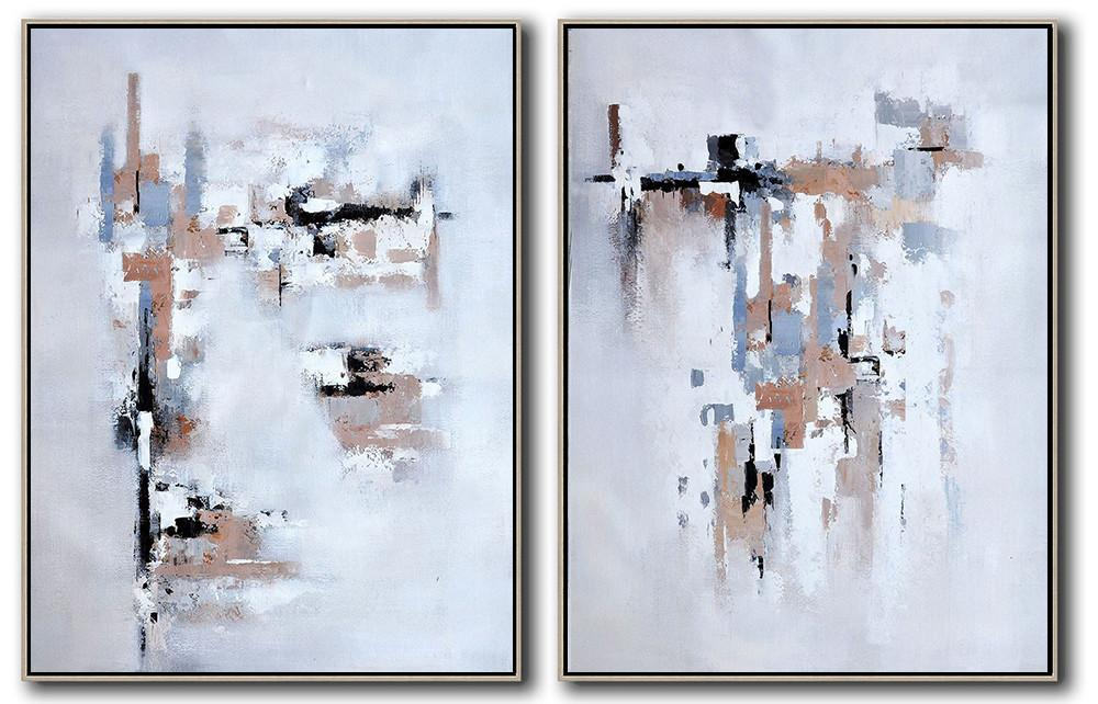 Huge Abstract Painting On Canvas,Set Of 2 Contemporary Art On Canvas,Hand Made Original Art,White,Grey,Black,Earthy Yellow .etc