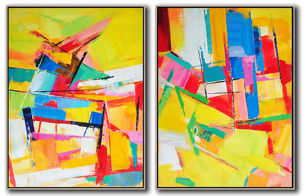 Original Painting Hand Made Large Abstract Art,Set Of 2 Contemporary Art On Canvas,Hand Painted Abstract Art,Yellow,Red,Blue,Green,Purple.etc
