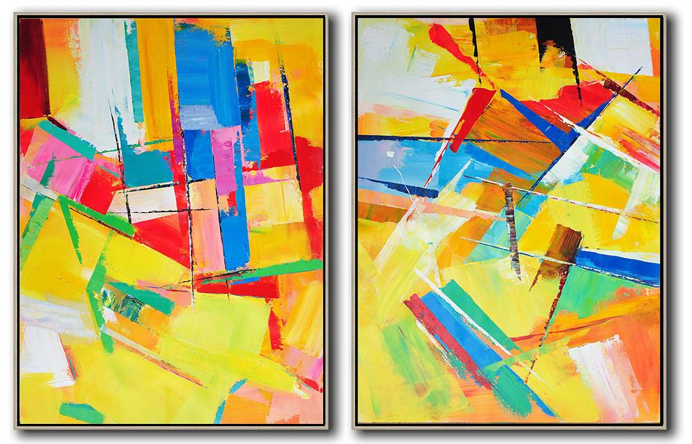 Extra Large Acrylic Painting On Canvas,Set Of 2 Contemporary Art On Canvas,Modern Paintings On Canvas,Red,Yellow,Blue,Purple,Green.etc