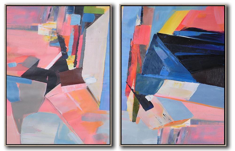 Extra Large Canvas Art,Set Of 2 Contemporary Art On Canvas,Huge Abstract Canvas Art,Pink,Grey,Blue,Black.etc