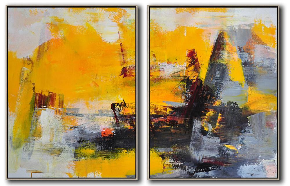 Extra Large Abstract Painting On Canvas,Set Of 2 Contemporary Art On Canvas,Acrylic Painting Large Wall Art,Yellow,Grey,Black.etc
