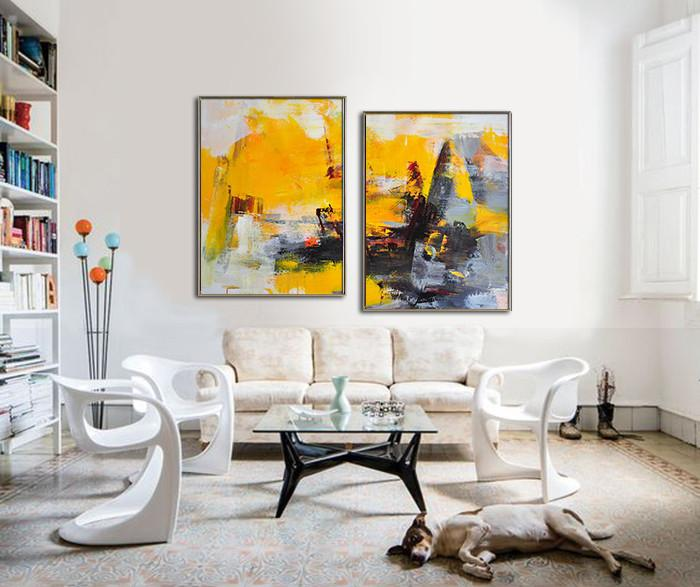 Extra Large Painting,Set Of 2 Contemporary Art On Canvas,Huge Abstract Canvas Art,Yellow,Grey,Black,Red.etc