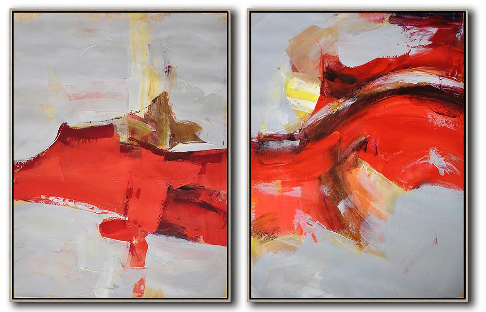 Abstract Painting Extra Large Canvas Art,Set Of 2 Contemporary Art On Canvas,Acrylic Painting Large Wall Art,Grey,Red,Brown.etc