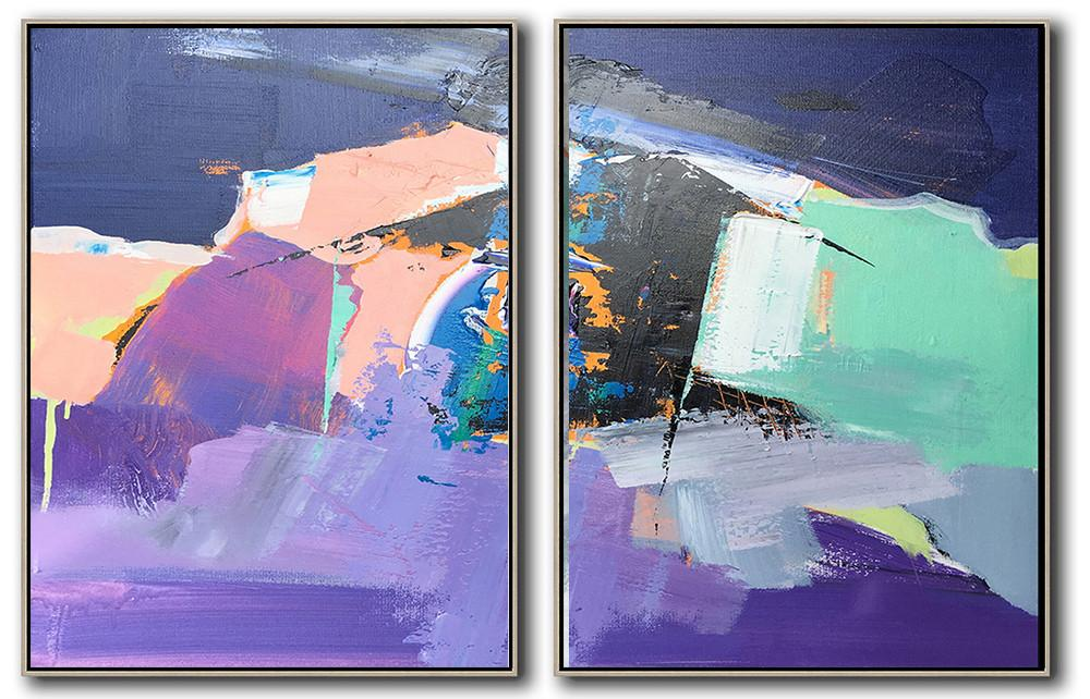 Handmade Large Contemporary Art,Set Of 2 Contemporary Art On Canvas,Large Living Room Wall Decor,Dark Blue,Nude,Purple,Light Green,White.etc