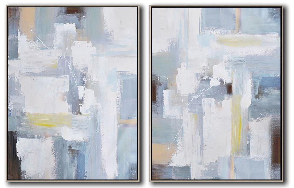 Hand Made Abstract Art,Set Of 2 Contemporary Art On Canvas,Oversized Custom Canvas Art,White,Grey,Light Blue.etc