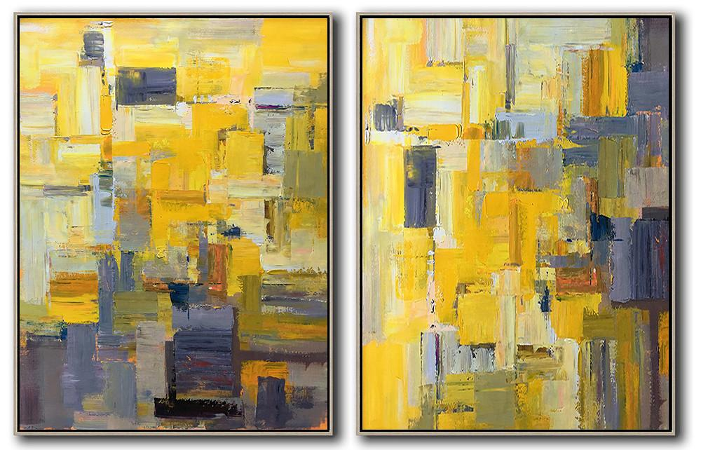 Handmade Large Painting,Set Of 2 Contemporary Art On Canvas,Large Oil Canvas Art,Yellow,Grey,Brown,White.etc