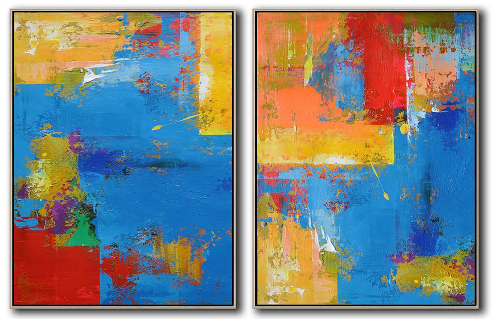 Abstract Painting Extra Large Canvas Art,Set Of 2 Contemporary Art On Canvas,Original Abstract Painting Canvas Art,Blue,Red,Yellow.etc