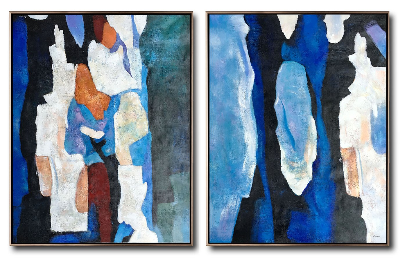 Large Modern Abstract Painting,Large Set Of 2 Blue Minimalist Painting On Canvas,Wall Art Ideas For Living Room,Blue,Orange,Brown,Black,White.etc