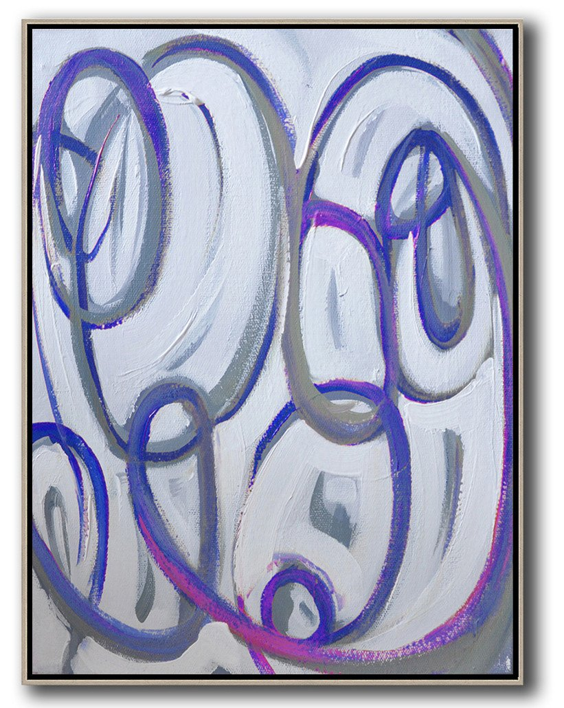 Extra Large Canvas Art,Vertical Contemporary Art,Oversized Art,Blue,White,Pink,Purple.etc