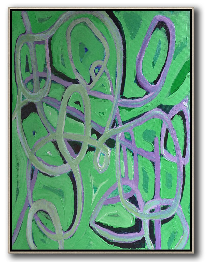 Large Abstract Art Handmade Painting,Vertical Contemporary Art,Original Abstract Painting Canvas Art,Green,Purple,Black.etc