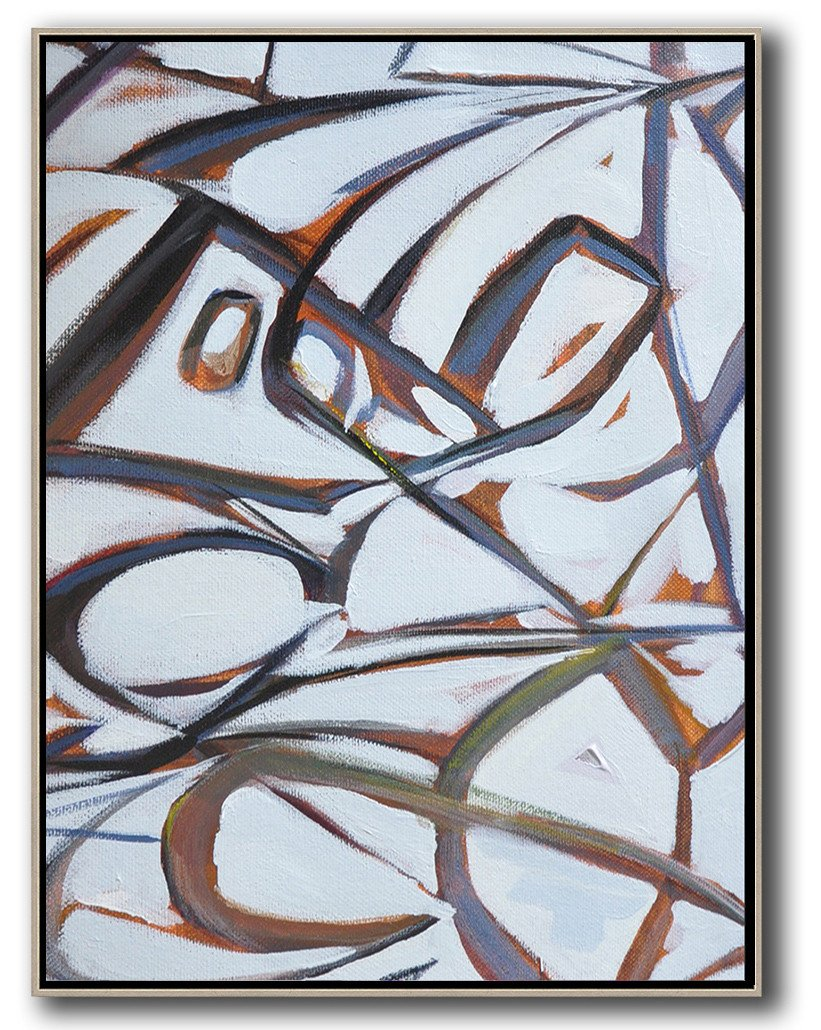 "Extra Large 72"" Acrylic Painting,Vertical Contemporary Art,Modern Wall Art,White,Purple,Grey.etc"