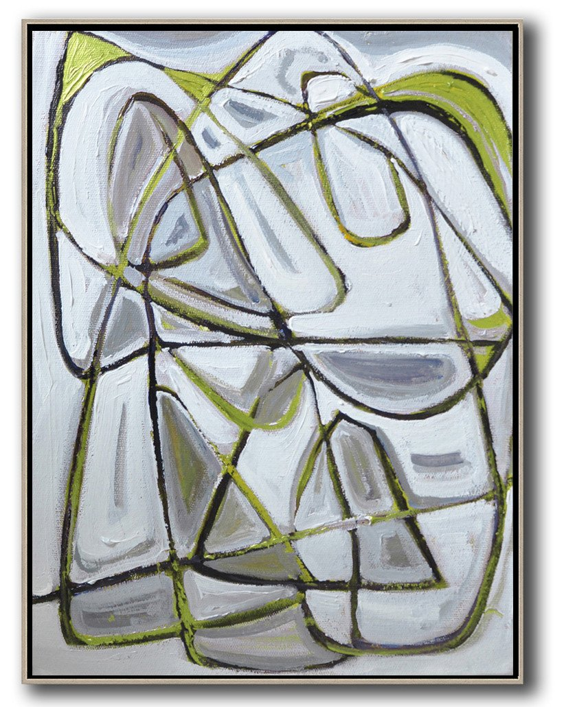 Handmade Large Painting,Vertical Contemporary Art,Abstract Oil Painting,Grey,Brown,Light Green,White,Black.etc