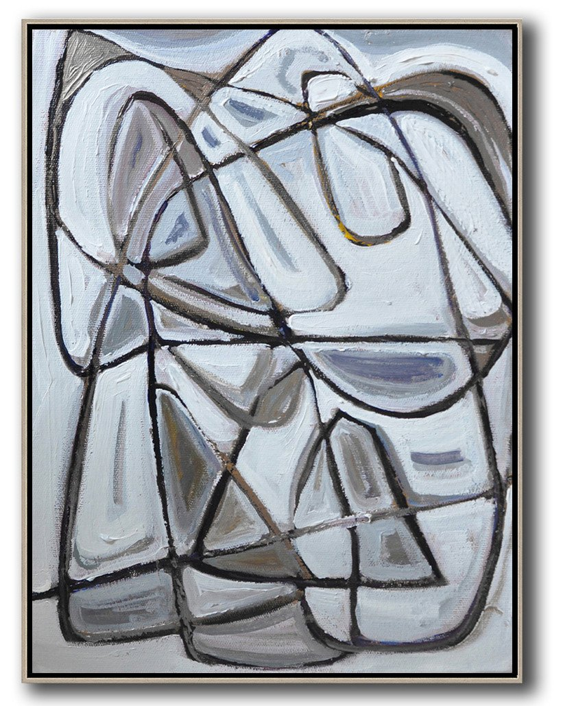 Original Artwork Extra Large Abstract Painting,Vertical Contemporary Art,Modern Paintings,Grey,Brown,White,Black.etc