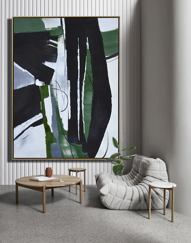 Large Contemporary Art Acrylic Painting,Hand Painted Large Vertical Contemporary Painting On Canvas,Large Oil Canvas Art,Black,Dark Green,White.etc