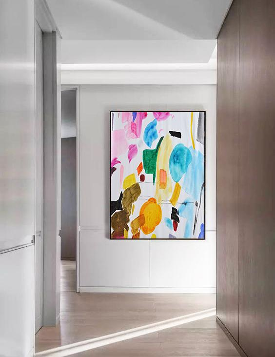 Original Painting Hand Made Large Abstract Art,Hand Painted Large Vertical Contemporary Painting On Canvas,Large Living Room Decor,Pink,Yellow,Sky Blue,Green,Black,Brown.etc