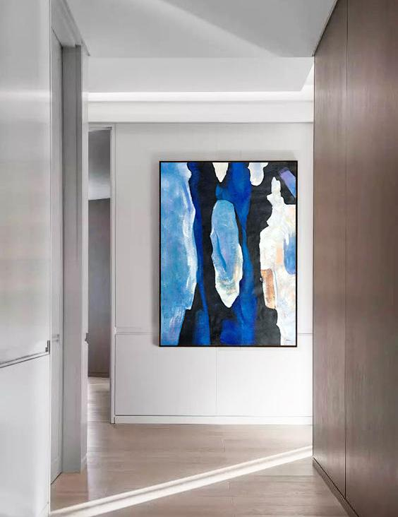 Hand Painted Extra Large Abstract Painting,Hand Painted Large Vertical Contemporary Painting On Canvas,Large Canvas Wall Art For Sale,Black,Blue,White,Yellow.etc