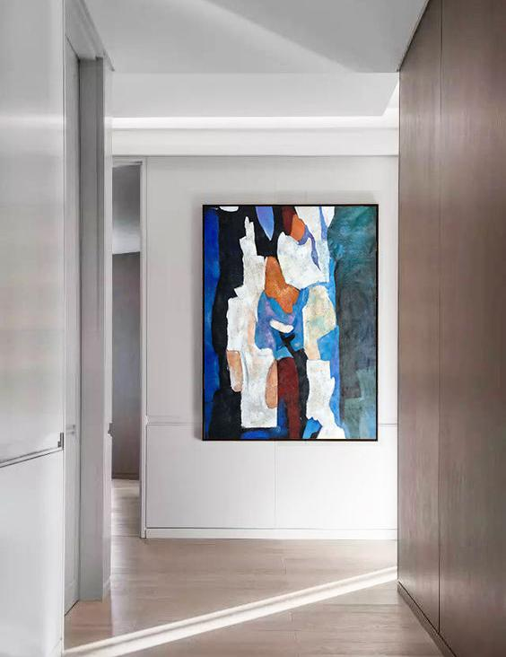 Huge Abstract Painting On Canvas,Hand Painted Large Vertical Contemporary Painting On Canvas,Pop Art Canvas,Blue,Black,White,Orange,Brown.etc