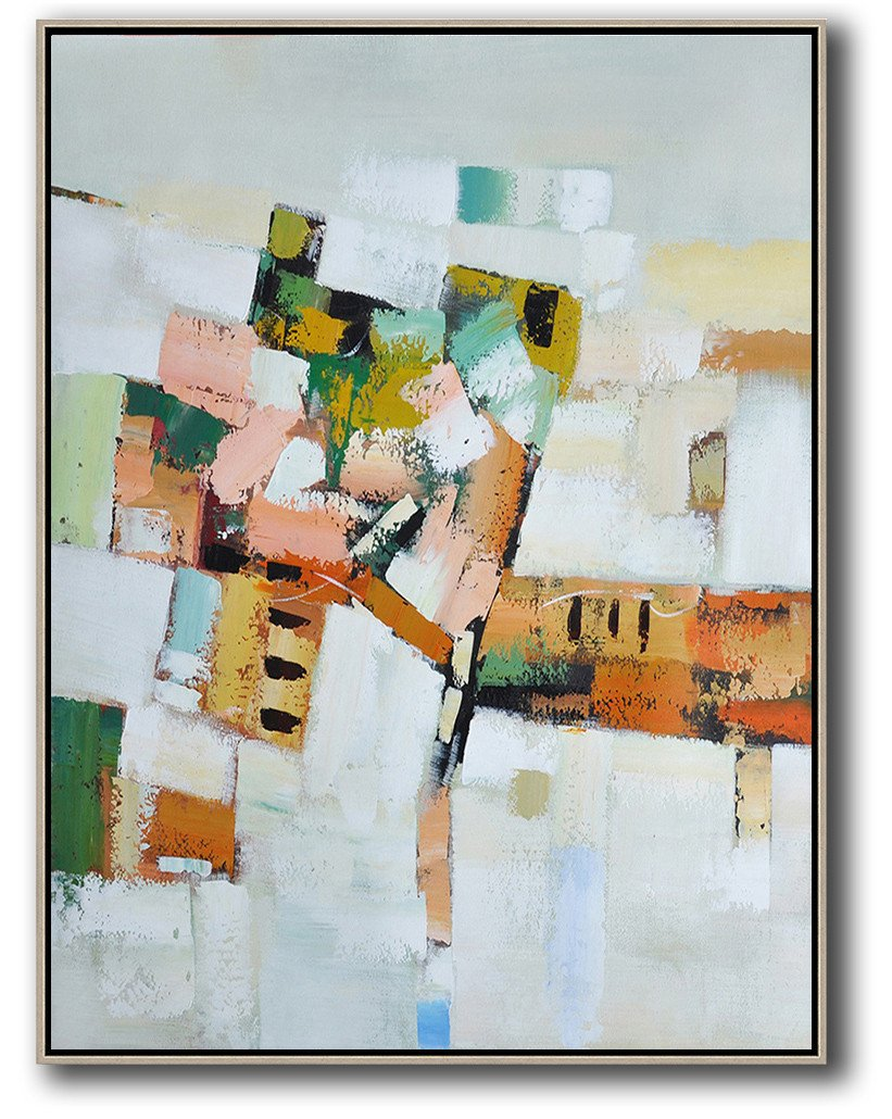 Extra Large Acrylic Painting On Canvas,Vertical Palette Knife Contemporary Art,Canvas Wall Art,Grey,White,Yellow,Orange,Pink.etc